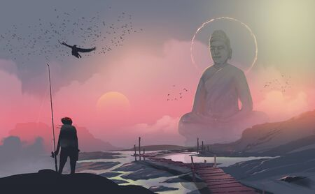 Digital illustration painting design style fisherman standing on the rock and looking at to big statue of Buddha statue, against sunset.