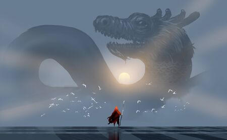 wizard summoning a Chinese dragon, against sunlight in the morning, digital illustration art painting design style.
