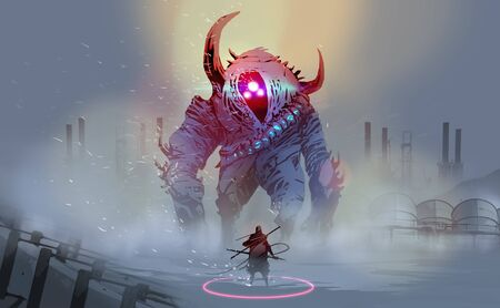 Digital illustration painting design style a warrior with a giant monster in blizzard against abandoned factories.