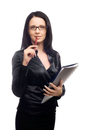sexy young teacher with glasses and long dark hair Stock Photo - 5011249