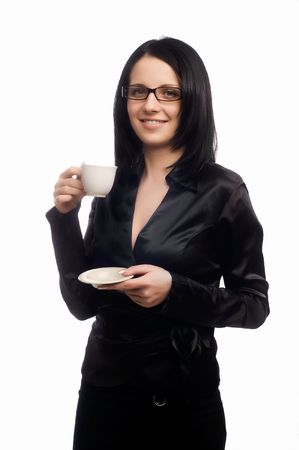 beautiful lady is drinking coffee Stock Photo - 5011213