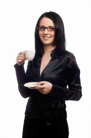 beautiful lady is drinking coffee Stock Photo - 5011213
