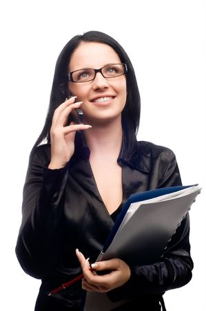 Beautiful businesswomen speaking with somebody by mobile phone Stock Photo - 5011251