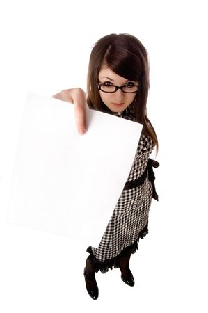 buisiness: Buisiness woman holding up a blank clipboard