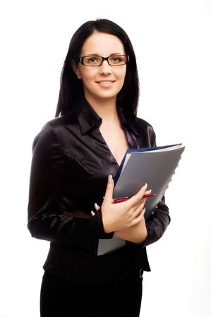 sexy young business woman with glasses and long dark hair Stock Photo - 5011253
