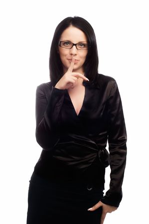 A businesswoman with her fingers on her lips isolated Stock Photo - 5011211