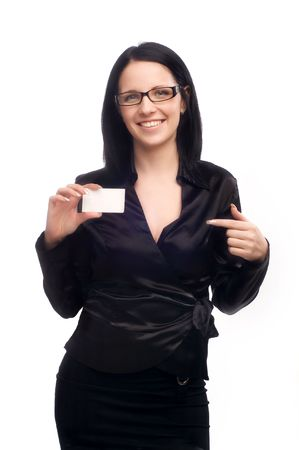 business woman with a business card on a white isolated background photo
