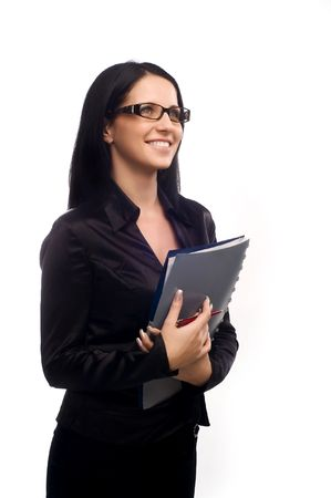 sexy young business woman with glasses and long dark hair photo