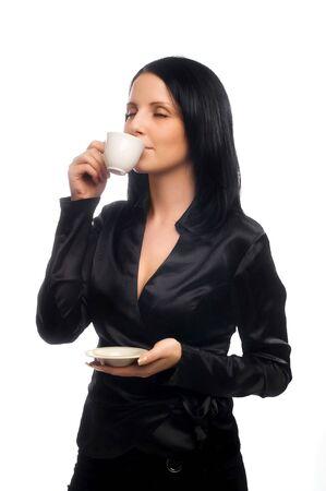 beautiful lady is drinking coffee photo