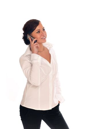 somebody: Beautiful businesswomen speaking with somebody by mobile phone Stock Photo