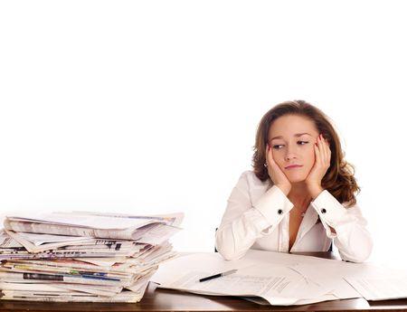 humeur: Crisis. Une femme d'affaires a soulign� headcahe. Banque d'images