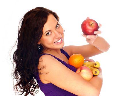 piramide alimenticia: joven hermosa muchacha con la fruta Foto de archivo