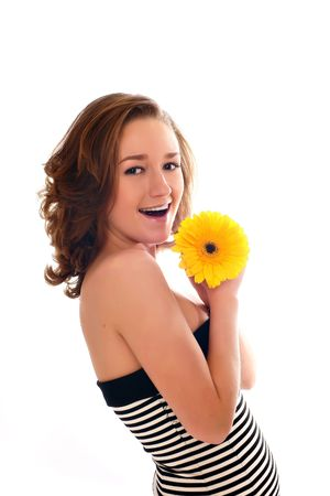 Portrait of Fresh and Beautiful woman with flower isolated on white photo