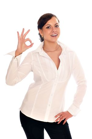 Business woman shows a sign ok Stock Photo - 5025409