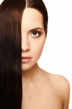 girl with silky hair on a white background Reklamní fotografie - 5025399
