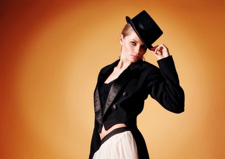 beautiful young girl in a tuxedo Stock Photo - 6070226