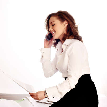 Close-up of a cheerful businesswoman wearing headset. white background photo