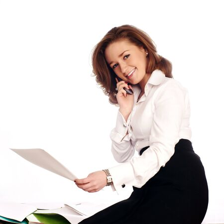 Close-up of a cheerful businesswoman Stock Photo - 7631101