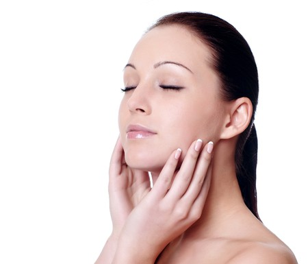 facial massage isolated on white  Stock Photo
