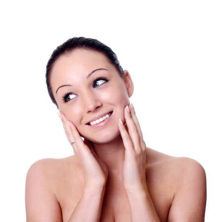 massage facial isolé sur fond blanc