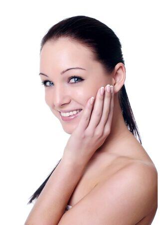 Gesichtsmassage isolated on white