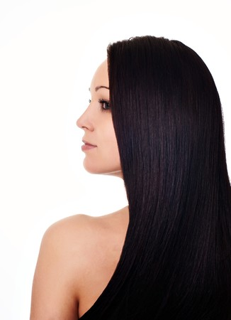 beautiful long hair: portrait of beautiful young woman with luxuriant healthy long hair