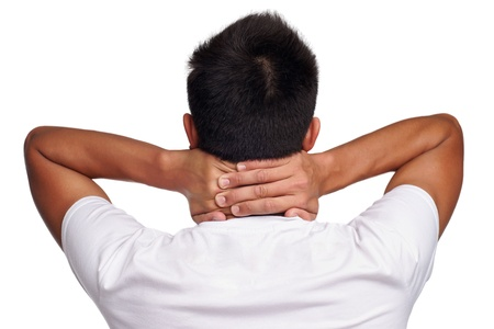 head back: back of man holding hands on head on white background