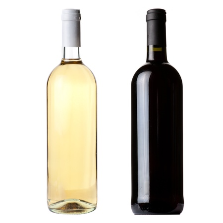 white wine bottle: Red and white wine bottles on white background Stock Photo