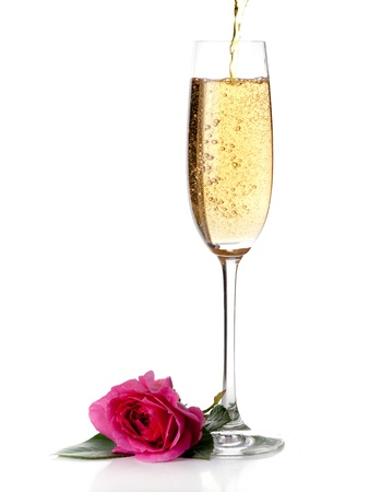 rose and champagne wine isolated on white Stock Photo
