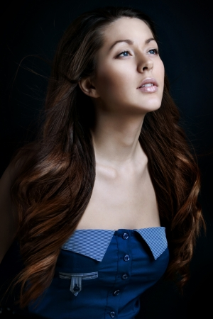 attractive gorgeous: Portrait of a beautiful young woman with hair flying