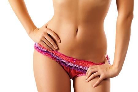 ni�as en bikini: Delgado cuerpo de mujer curtida. Aisladas sobre fondo blanco. Foto de archivo