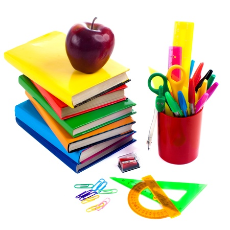 corner clock: Back to school supplies  Isolated