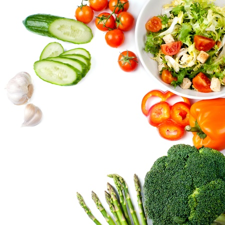 broccoli salad: cabbage broccoli with tomatoes and green leaves isolated on white background