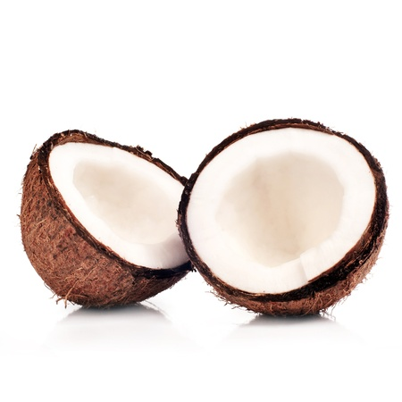 wo halfs of coconut isolated on white with shadow photo