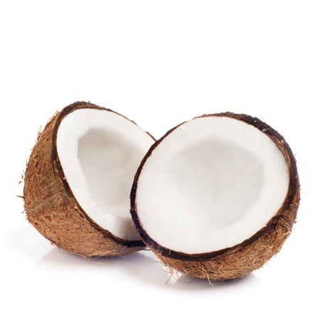 Frische Kokosnuss isoliert auf weißem Hintergrund