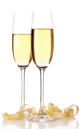 celebration champagne: Two glasses of champagne. Isolated on white background