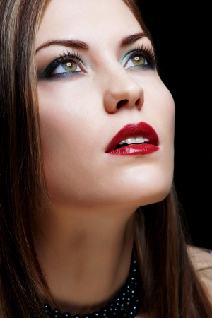 Close-up portrait of sexy caucasian young woman model with glamour red lips make-up photo