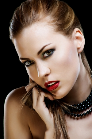 Close-up portrait of sexy caucasian young woman model with glamour red lips make-up