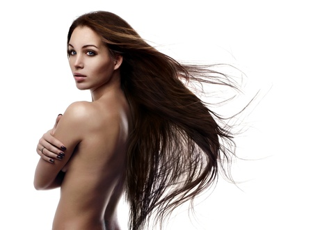 flying hair: Portrait of a beautiful young woman with hair flying