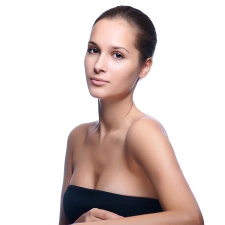 Sağlıklı bir cilt ile genç, güzel kadının portresi