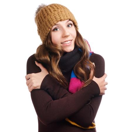 beautiful woman in warm clothing closeup portrait photo