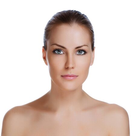 nude blonde woman: Portrait of young beautiful woman with healthy skin
