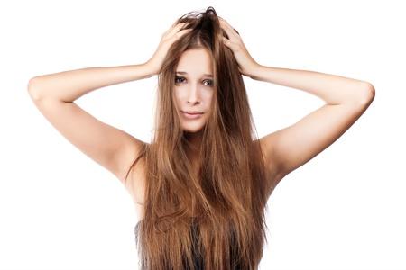 Frau mit wirrem Haar. isoliert Standard-Bild