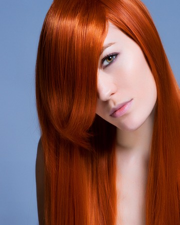 long red hair woman: Beautiful Brunette Girl with Healthy Long Hair Stock Photo
