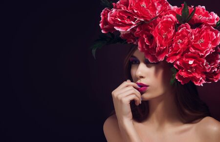 Beautiful girl with flowers in her hair Spring