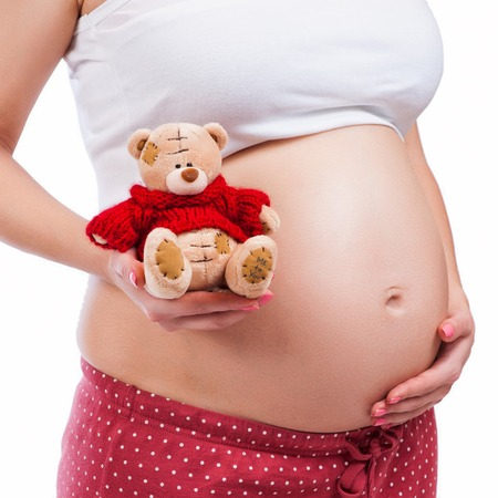 Pregnant mother showing her belly and holding a teddy photo
