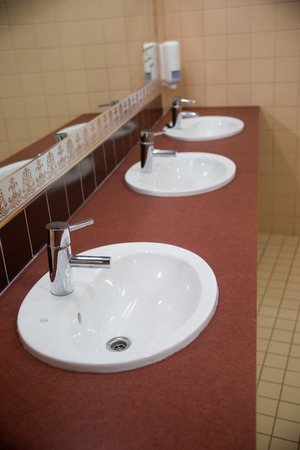 wash basin: Three of wash basin in the rest room Stock Photo