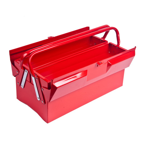 red metal: Open Red metal toolbox isolated on white Stock Photo
