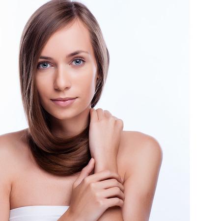gray: Hair. Beautiful Brunette Girl. Healthy Long Hair. Beauty Model Woman. Hairstyle