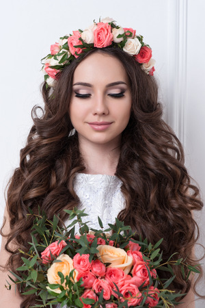 wedding portrait: Gorgeous bride with flowers
